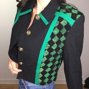 Vintage Green Black Bolero Jacket Cropped Blazer